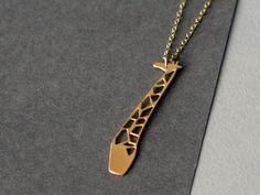 giraffe necklace golden giraffe giraffe jewelry by WildThingStudio
