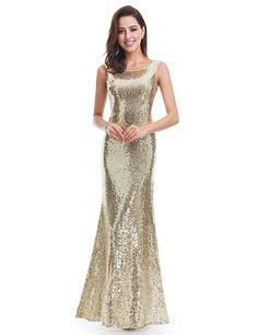 9fe58adc0388 Ever-Pretty Womens Round Neckline Sleeveless Long Formal Sequins Maxi Dress  8 US Gold Evening