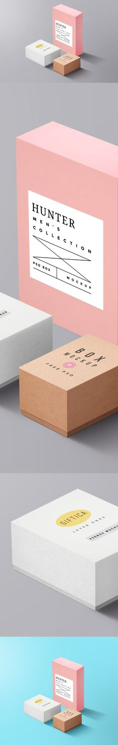 In need of Packaging Boxes mockup to showcase your packaging designs? Then you're on the right way! The below is a nice set of 3 Packaging Boxes Free PSD MockUp for you to display your branding designs and identity for gift products in style. With the smart-object layers, you can replace your own logo or label designs with easy in no time.