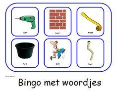 Bouwen - Paula Prevoo Bingo, Spelling, Plastic Cutting Board, School, Colouring, Printables, Kids, Atelier, Seeds