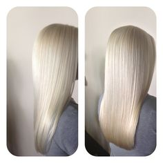11.1 Super Ultra Light Ash Blonde 1/2 oz+ 11.2  Super Ultra Light Blonde 1 1/2 oz= parts of 60 v LPRCF . 1 full tap of .07 Deep Blue Amplifier. Process with out heat for 50 minutes. Emulsify and rinse very well. Shampoo with Traitee . Overlay of Color Instantane 10.2 1 oz Ultra Light Platinum Blonde +10.1 1/ 2 oz Ultra Light Ash Blonde. Process for 10 minutes. Traitee shampoo , Moisturee  1 minute super moisturizer . Apply HC B5 leave in treatment.