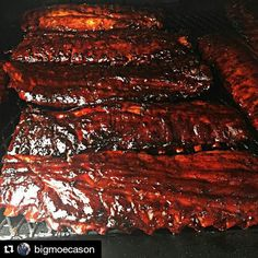 Check out these ribs in this #Repost from the venerable @bigmoecason  Slabs for my wife's work my rub and sauce with added honey. #Grill #Grilling #BBQ #Barbecue #FoodPorn #GrillPorn #Pork #PorkPorn #Ribs #Food #FoodPhotography #foodgasm #foodography #instafood #foodiegram #foodie #foodstagram #foodpics #Meat #MeatPorn #meatlover #Paleo #GlutenFree