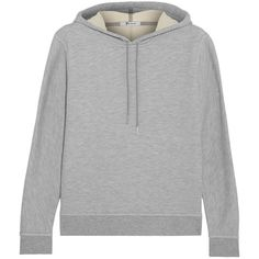 T by Alexander Wang Cotton-blend twill-knit hooded top ($148) ❤ liked on Polyvore featuring tops, hoodies, grey, loose fitting tops, loose tops, grey top, gray hoodies and loose fit tops