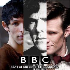Cheekbones. Merlin. Sherlock. Doctor Who. (pinning again. whatever. deal with it.)
