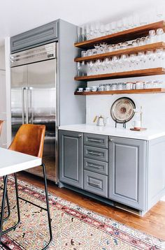 wood open shelving and gray kitchen cabinets. / sfgirlbybay