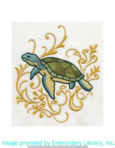 Stickmotiv Stickbild Aufnäher Stickerei Emblem Schildkröte  Schildkröte /  Stickerei Sea Turtle and Echo (J8748)