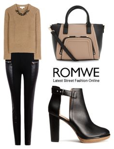 """""""ROMWE Pant"""" by tania-alves ❤ liked on Polyvore featuring Burberry, H&M, women's clothing, women, female, woman, misses and juniors"""