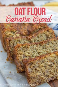 Oat Flour Banana Bread is made with Gluten Free oats butter and Greek yogurt you will love this Gluten Free Banana Bread Recipe Perfect for a breakfast treat after-school snack or midnight snack glutenfree oatflour bananabread snack dessert gfbananabread Oat Flour Banana Bread, Oatmeal Flour, Gluten Free Banana Bread, Healthy Banana Bread, Gluten Free Oats, Banana Bread Recipes, Banana Bread With Oats, Oat Flour Muffins, Oat Bread Recipe