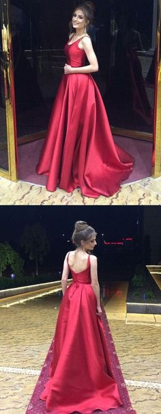 A-Line Round Neck Sleeveless Sweep Train Red Satin Prom Dress