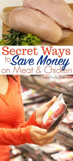 The secrets to helping you save money on meat and chicken -- so you can stretch your grocery budget! Saving money on chicken Frugal Living Tips, Frugal Tips, Frugal Meals, Budget Meals, Food Budget, Save Money On Groceries, Ways To Save Money, Money Saving Tips, Groceries Budget