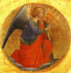 Fra Angelico - Renaissance - Perugia Triptych: Angel of the Annunciation. Fra Angelico, Renaissance Kunst, Italian Renaissance, Catholic Art, Religious Art, Angel Images, Italian Art, Angel Art, Medieval Art