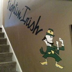 Notre Dame Staircase Mural. Very Cool. GO IRISH!