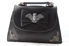 Dahlia Deranged Designs - Bat Filigree Bow Mini Handbag/Clutch