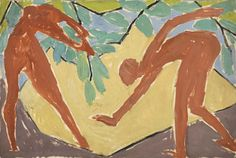 Adam and Eve, 1913-14 – Vanessa Bell (1879–1961) oil, gouache and pencil on paper | design for a folding screen