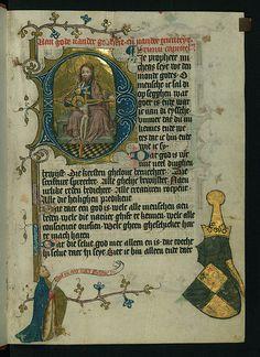 Illuminated Manuscript, Duke Albrecht's Table of Christian Faith (Winter Part), The Trinity (Throne of Grace), with Albrecht of Bavaria, Walters Art Museum Ms. W.171, fol. 1r