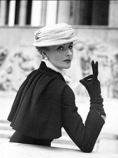 1954 Model in Jacques Fath's coat and hat, photo by Walde Huth