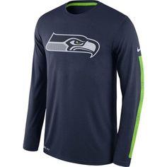 Men's Seattle Seahawks Nike College Navy Legend Logo Long Sleeve Performance T-Shirt