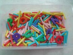Sensory - Straw and Magnetic Alphabets Sensory Bin