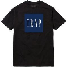 TRAP (IN GAP FONT) T-SHIRT ($15) ❤ liked on Polyvore featuring tops, t-shirts, shirts, tees, t shirts, print shirts, print t shirts, pattern t shirts y cotton tee