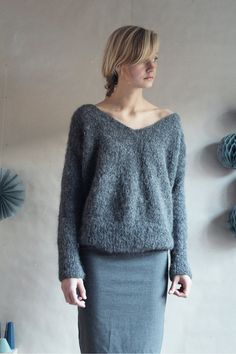 Wide V-neck, simple loose fitting sweater (www.lokal-osl.no, Iris alpaca).  Get a sweater like this in the winter. A good one
