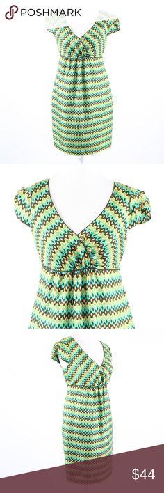 6ce46dbde14ec Milly green silk cap sleeve empire waist dress 4 Brown