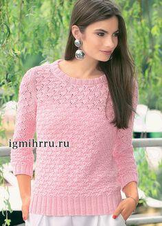 ЛЕГКИЙ РОЗОВЫЙ ПУЛОВЕР  С АЖУРНЫМ УЗОРОМ.  Вязание спицами  Пряжа нежного оттенка и красивый ажурный узор подчеркивают женственность классического пуловера спокойного розового цвета