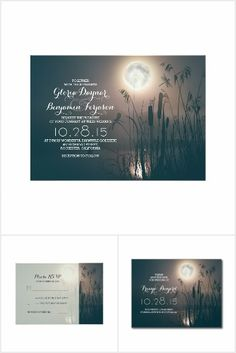 Moon Night Dragonfly Rustic Wedding Collection. Lake, water, marsh, cattail grass. This rustic country wedding set / stationary / suite may include: Wedding invitation cards, wedding envelopes, wedding RSVP Cards, wedding address labels, save the dates, wedding programs, wedding thank you cards, rehearsal dinners, stamps and more matching wedding products. Click image to see all available matching items.