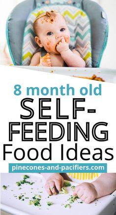 8 Month Old Baby Self-Feeding - Pinecones & Pacifiers 8 Month Old Baby Food, Baby Food 8 Months, Baby Month By Month, Baby Recipes For 8 Month Old, Baby Self Feeding, Feeding Baby Solids, Baby Feeding Schedule, Baby Breakfast, Baby Led Weaning Breakfast