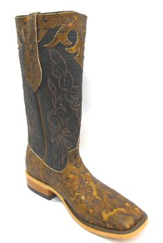 Mens Cowboy Boots Anderson Bean Brown Tooled Cowhide