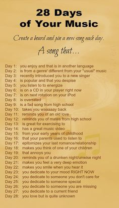 The 28 day song challenge.