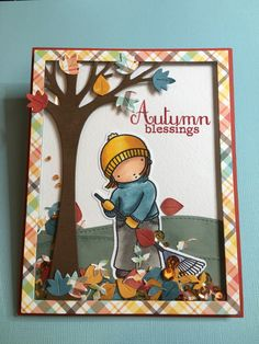 When I saw the new Lawn Fawn - Leafy Tree Backdrop, I knew it needed to be pared with the My Favorite Things - Thankful Friend stamp.  I also used the Lawn Fawn - Stitched Hillside Borders die & Perfectly Plaid fall maple syrup paper with the Simon Says Stamp Autumn Blessing sentiment stamp. Fall is right around the corner  #lawnfawn, #myfavoritethingsstamps, #simonsaysstamp, #copicmarkers
