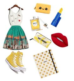 """""""Yellow Summer Outfit ❤"""" by fashionlovesmia ❤ liked on Polyvore featuring Kate Spade, Converse, Anya Hindmarch, Gisou by Negin Mirsalehi, Estée Lauder and Lime Crime"""