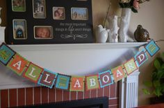 All Aboard Banner, Train Bannerr, Train Birthday Party, Train Decorations, All Aboard,. $17.00, via Etsy.