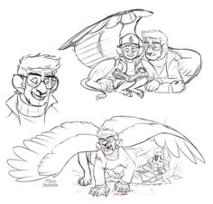 Nightrizer : Sketch dump of Dip and Ford, plus their Monster...