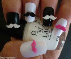 3D Nail Art Decoration Black Hot Pink White Moustache Movember Kawaii 10 Pieces £2.30