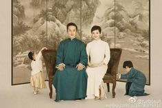 Four Family Members Republican Period Family Photo Mum - Dad - Daughter-Son Costume Sets Parent-Child Hanfu Costume Sets Chinese Wedding Decor, Chinese Theme, Chinese Style, Family Portraits, Family Photos, Dad Daughter, Folk Dance, Baby Memories, Mural Painting