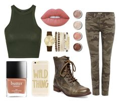 """""""Camostyle"""" by gabby-bda ❤ liked on Polyvore featuring Topshop, True Religion, Steve Madden, Lime Crime, Terre Mère, Jessica Carlyle, Sonix and camostyle"""