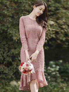 Plain Mermaid High-Low Lace Dress