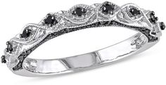 Zales 1/8 CT. T.W. Enhanced Black Diamond Vintage-Style Wedding Band in 10K White Gold with Black Rhodium