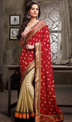 Red and Beige Jacquard Satin Half N Half Saree Price: Usa Dollar $115, British UK Pound £68, Euro85, Canada CA$123 , Indian Rs6210.