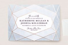 """Abstract Jewel"" - Modern Wedding Invitations in Amethyst by Rebecca Bowen."