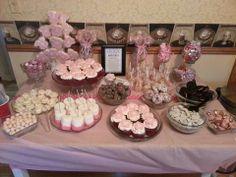 Pink baby shower dessert buffet