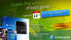 Guess who is going to be the winner of each group of the FIFA World Cup for the chance to win: a PS4 console, FIFA 2014 PS4 game and Hotspot Shield Elite 1 year licenses. Submit your entry by June 22nd (11:59pm PDT) - Good luck!
