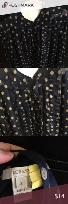 Jcrew size 2 100% silk blouse Great condition. Navy and khaki polka dots. Ruffled front. J. Crew Tops Blouses