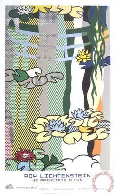 Water Lilies with Japanese Bridge Painting by Roy Lichtenstein