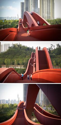 The Lucky Knot Bridge was inspired by a traditional Chinese knot. Futuristic Art, Futuristic Architecture, Red Architecture, Chinese Bridge, Changsha China, Under Bridge, Ancient Chinese Architecture, Suspension Bridge, Covered Bridges