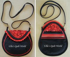 Quilt bag, dress with applique flower - another view