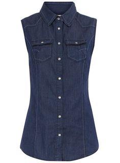 "sleeveless denim shirt / dorothy perkins...or better yet, Walmart ""Faded Glory"" under $20."