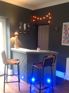 Home bar ready to go :) Farrow and Ball Downpipe, Abigail Ahern lamp and lots of Malibu