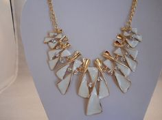 White Gold Tone and Clear Rhinestones Bib Necklace by maryannsway on etsy